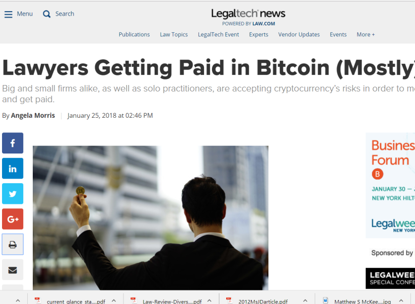 Lawyers Getting Paid in Bitcoin (Mostly) Like It