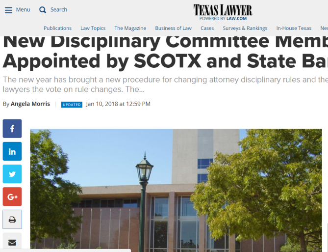 New Disciplinary Committee Members Appointed by SCOTX and State Bar