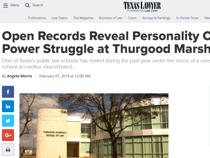 Open Records Reveal Personality Clashes, Power Struggle at Thurgood Marshall