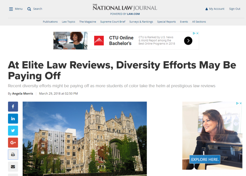At Elite Law Reviews, Diversity Efforts May Be Paying Off